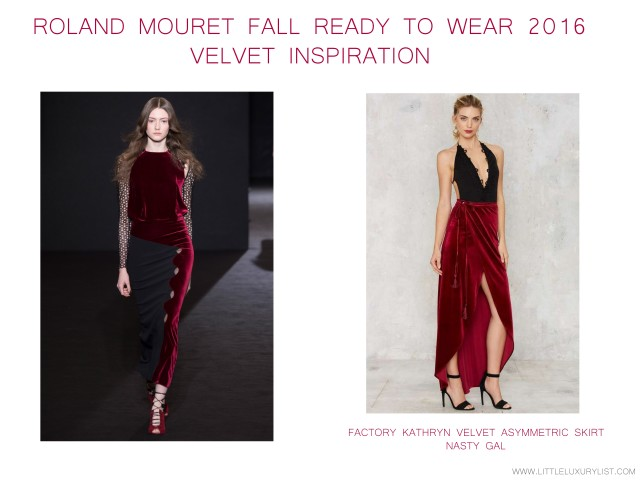 Roland Mouret Fall 2016 Ready to Wear velvet inspiration