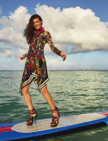 Louise-Pedersen-in-dress-on-surfboard-for-Elle-España-April-2016