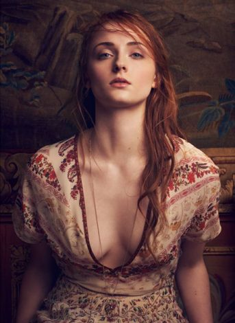 Sophie Turner The Edit April 2016 cream and brown dress