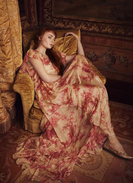 Sophie Turner The Edit April 2016 red and pink dress