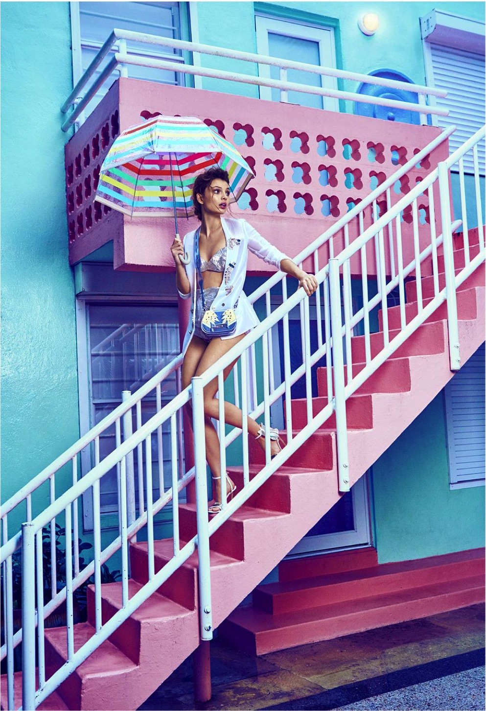 Carola Remer for Cosmopolitan US June 2016 by James Macari white outfit