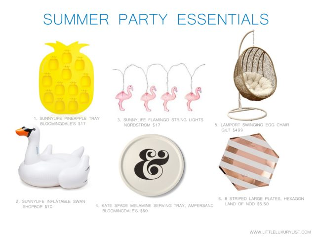 Summer party essentials by little luxury list