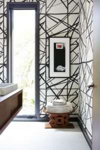 Black and white decor pattern wallpaper by Kelly Wearstler design by Reid Roll photo by MyDomaine