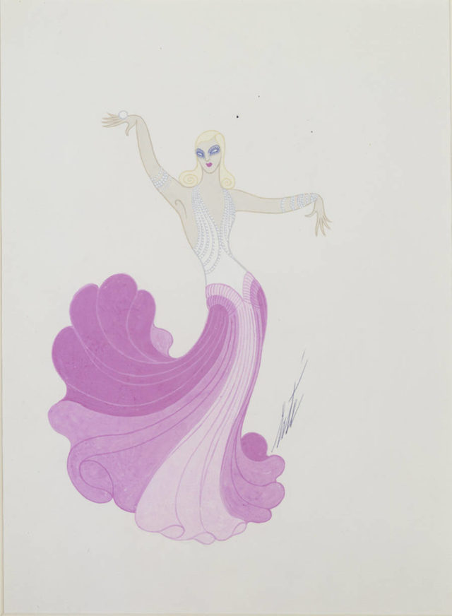 Erté Art Deco Drawings costume de Ginger Rogers, 1975