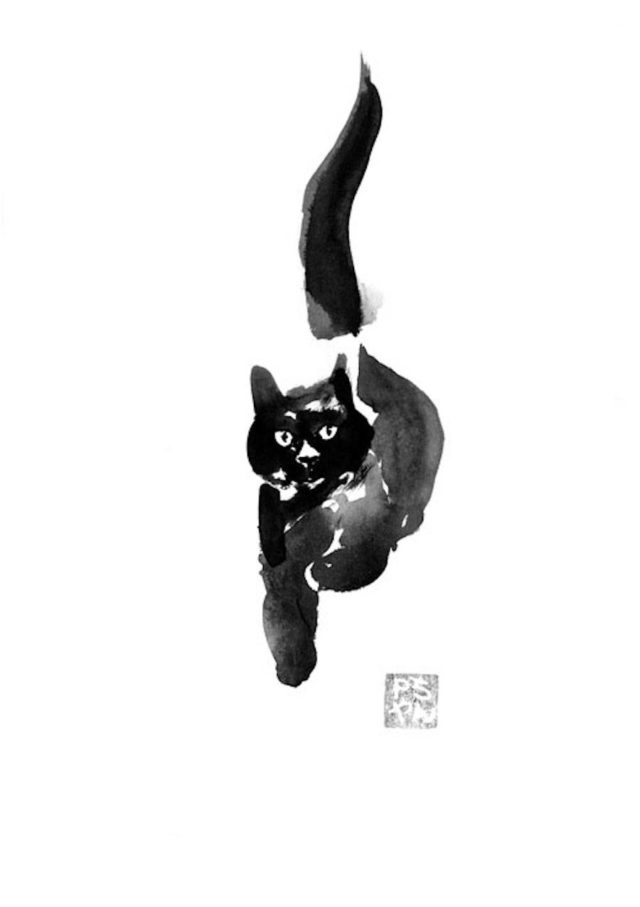 pechane sumi-e painting cat