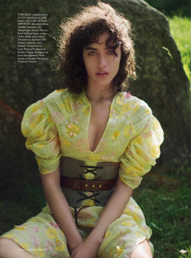 Allana Arrington for Harper's Bazaar UK October 2016 Prada yellow dress