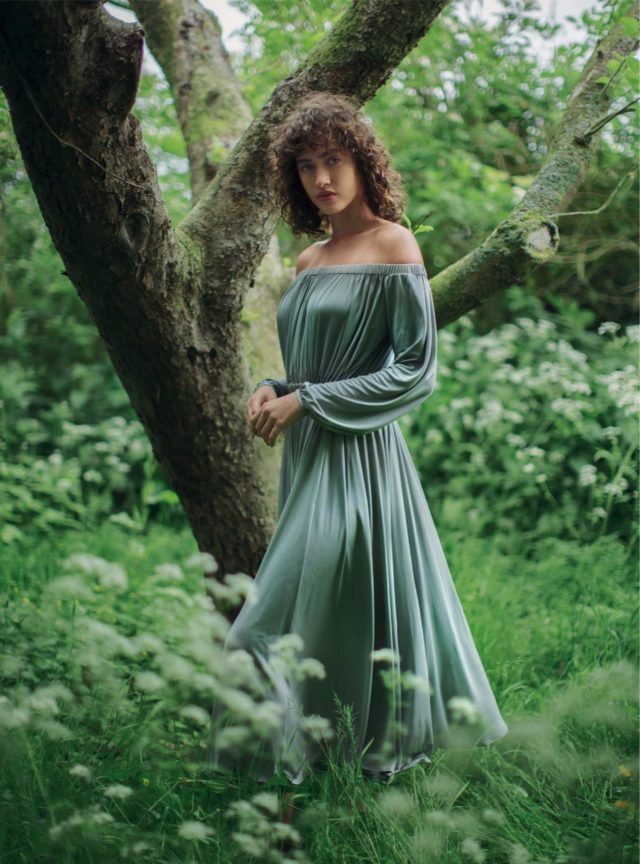 Allana Arrington for Harper's Bazaar UK October 2016 blue dress