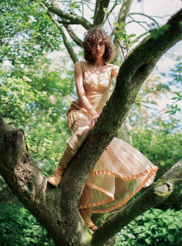 Allana Arrington for Harper's Bazaar UK October 2016 blush dress