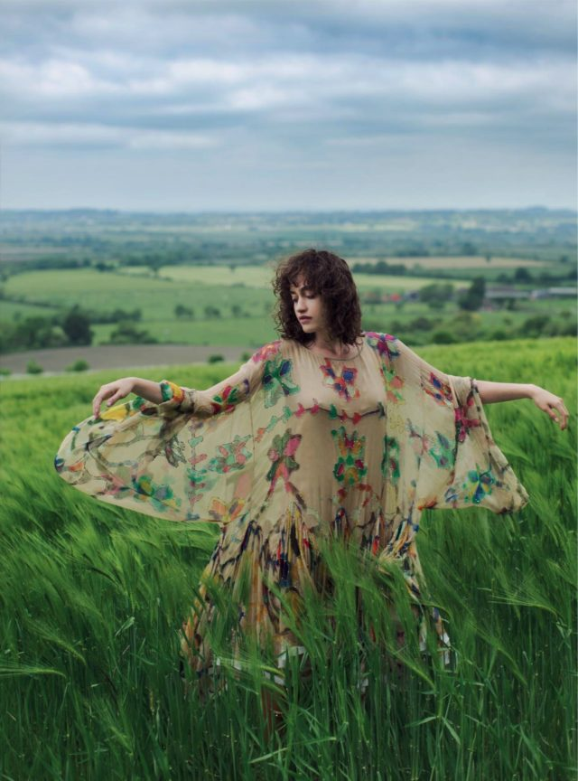 Allana Arrington for Harper's Bazaar UK October 2016 floral nude dress
