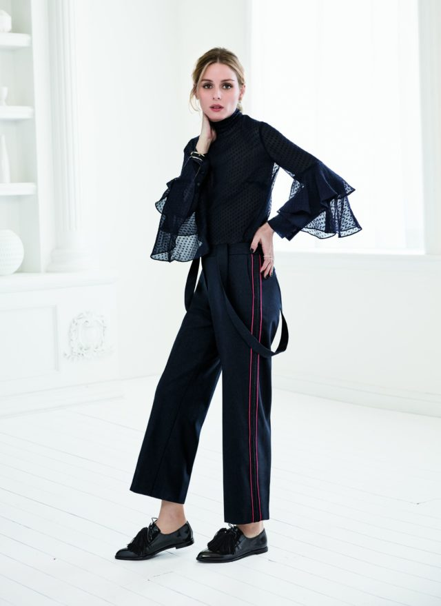 Olivia Palermo x Chelsea28 for Nordstrom ruffled shirt and suspenders