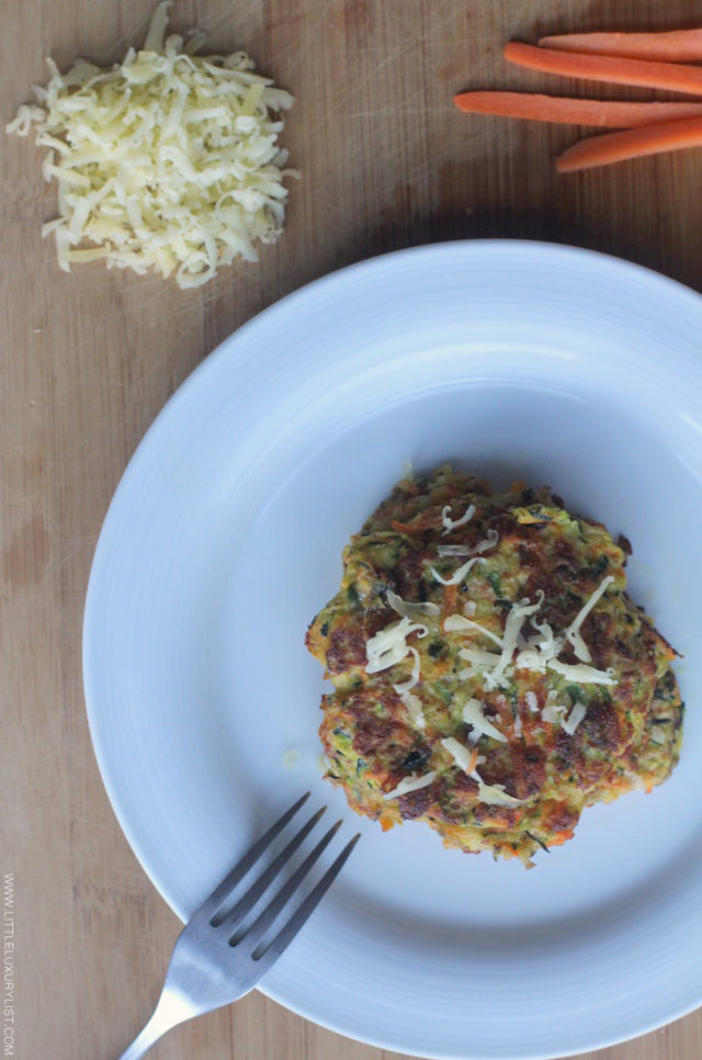 Gluten free Greek zucchini fritters top view by little luxury list