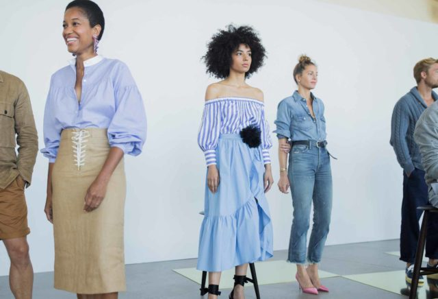 J. Crew NYFW 2017 constellation group with blue outfits