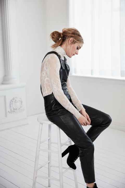 Olivia Palermo x Chelsea28 for Nordstrom black overalls and lace top