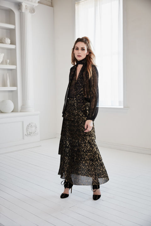 Olivia Palermo x Chelsea28 for Nordstrom tie neck shirt and tiered midi skirt