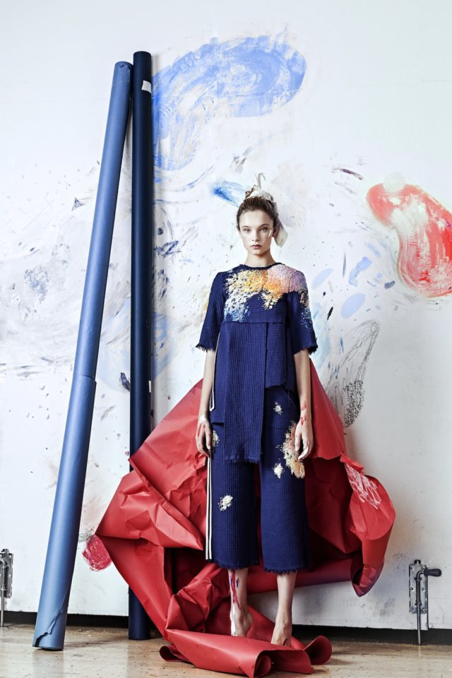 Paint Splotch Embroidered Clothing by Olya Glagoleva and Lisa Smirnova blue outfit