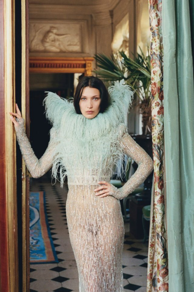 Bella Hadid for W Magazine October 2016 blue feather dress photography by Venetia Scott