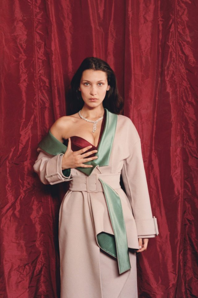 Bella Hadid for W Magazine October 2016 pink coat photography by Venetia Scott