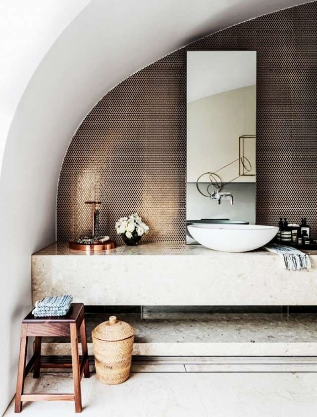the best white bathrooms copper backdrop photo by Felix Forest for Vogue Living