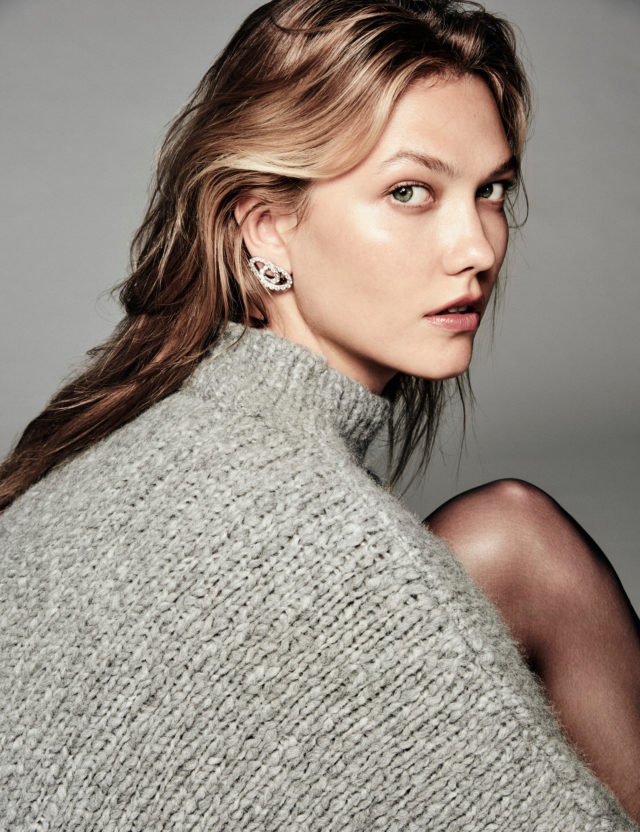 Karlie Kloss for Vogue Mexico October 2016 by Chris Colls profile in gray sweater