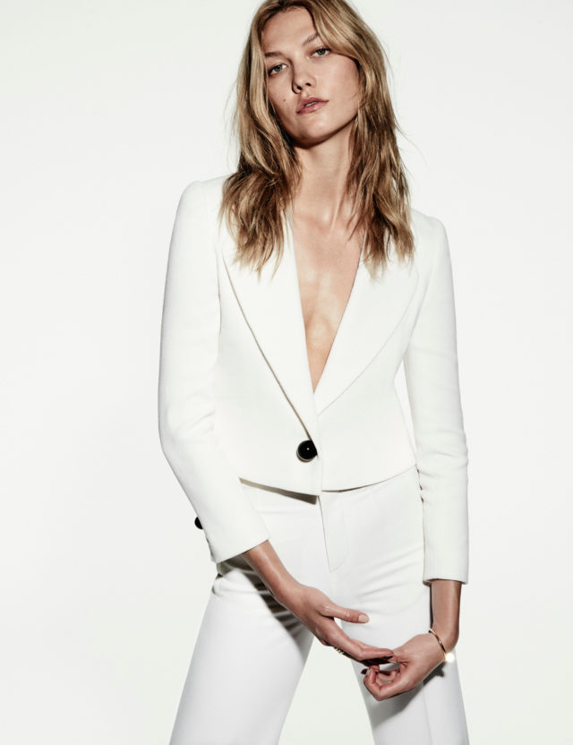 Karlie Kloss for Vogue Mexico October 2016 by Chris Colls profile in white suit