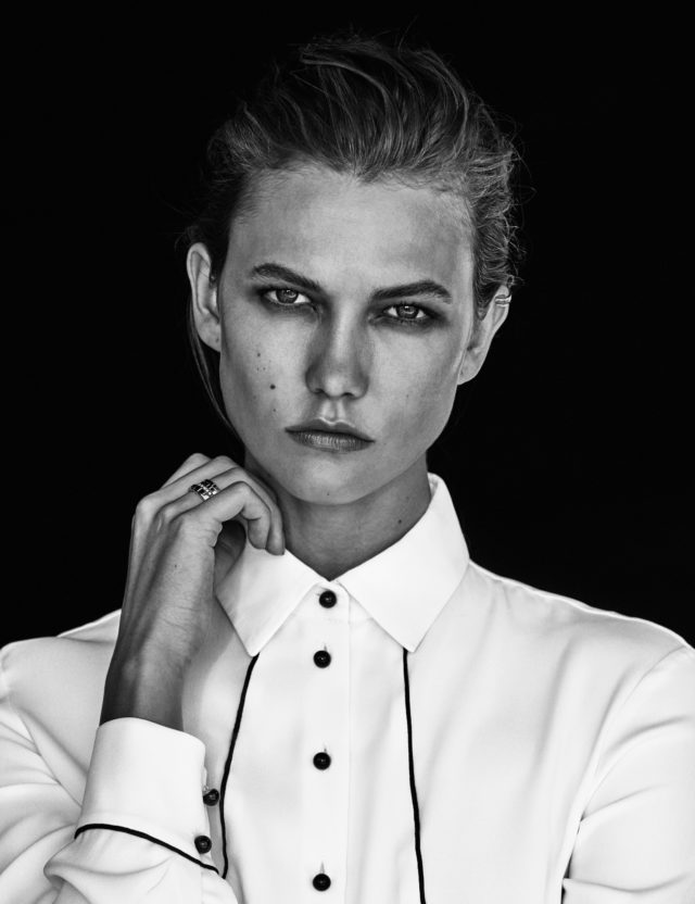 Karlie Kloss for Vogue Mexico October 2016 by Chris Colls profile in white shirt