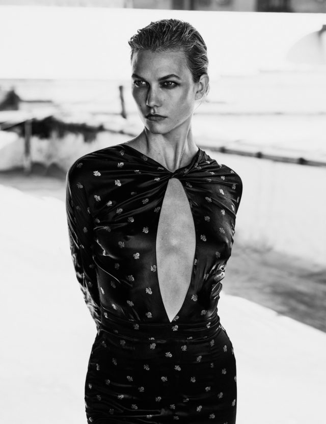 Karlie Kloss for Vogue Mexico October 2016 by Chris Colls black gown long sleeve