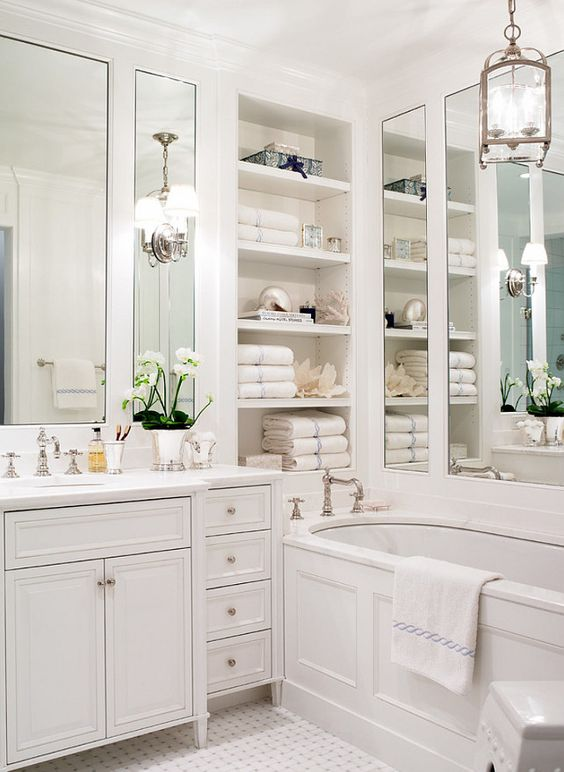 the best white bathrooms Home Bunch with shelves