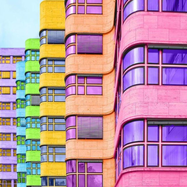 Technicolor buildings by Ramsy Mazri curve building