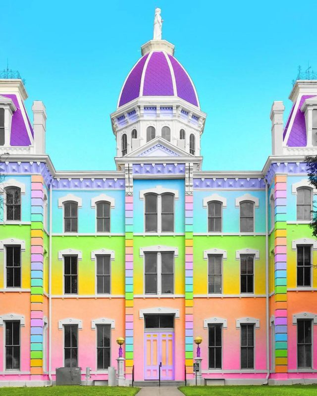 Technicolor buildings by Ramsy Mazri Marfa Texas building