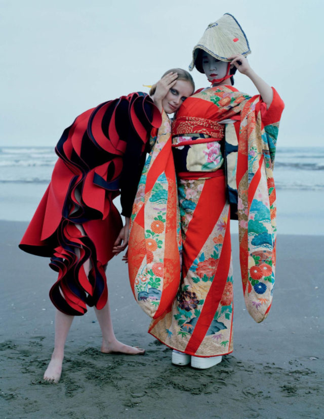Tim Walker for UK Vogue December 2016 Rianne van Rompaey in Chiba Prefecture dress