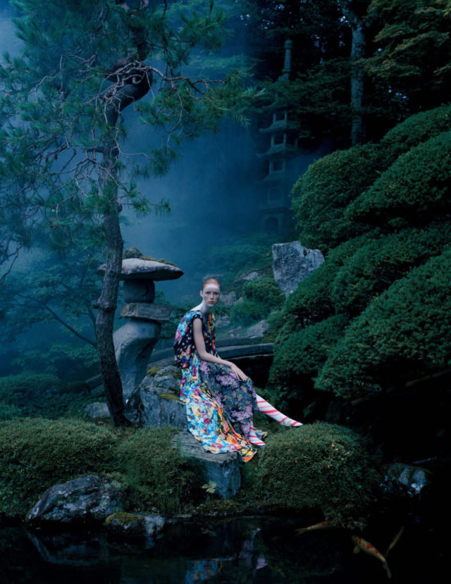Tim Walker for UK Vogue December 2016 Rianne van Rompaey in blue floral dress
