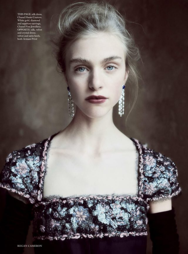 Hedvig Palm in UK Harper's Bazaar UK December 2016 black Chanel gown
