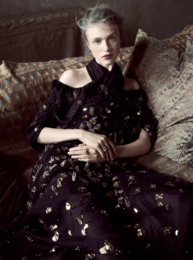 Hedvig Palm in UK Harper's Bazaar UK December 2016 black embellished gown
