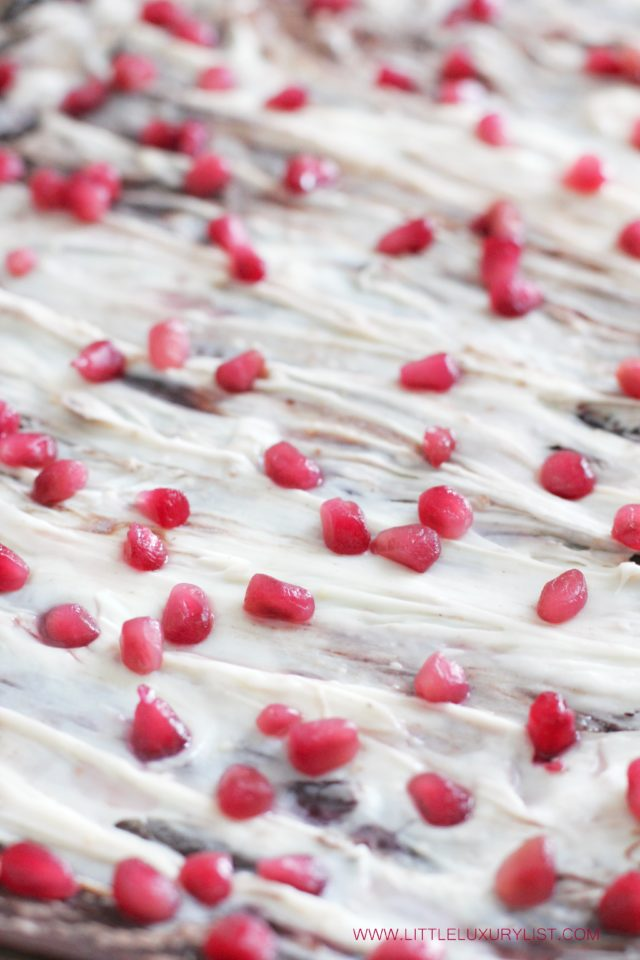 Pomegranate chocolate bark just made by little luxury list