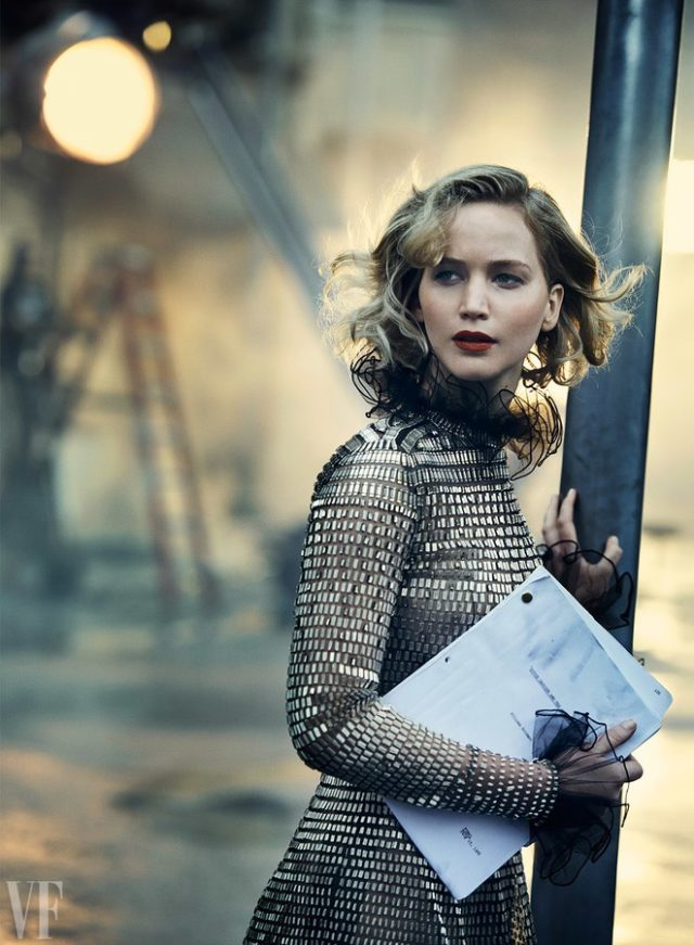 Vanity Fair Holiday 2016 - Jennifer Lawrence by Peter Lindbergh in black and silver gown