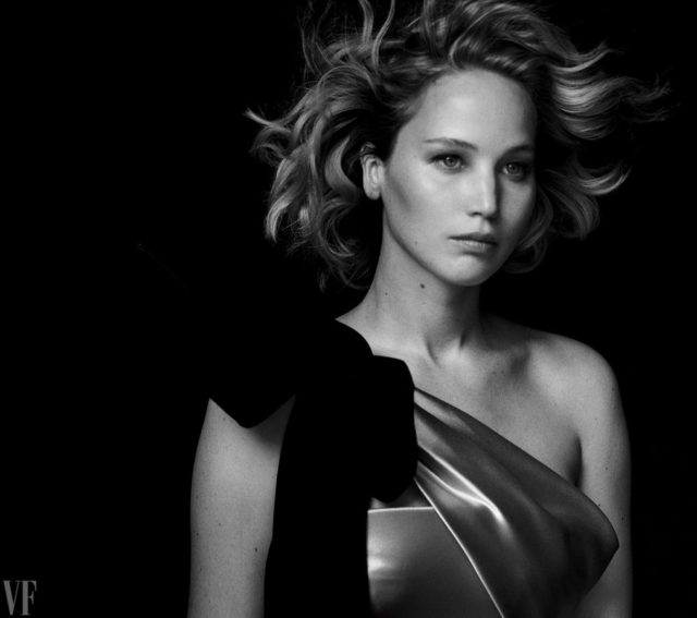 Vanity Fair Holiday 2016 - Jennifer Lawrence by Peter Lindbergh in one shoulder dress