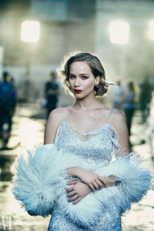 Vanity Fair Holiday 2016 - Jennifer Lawrence by Peter Lindbergh in silver dress and stole