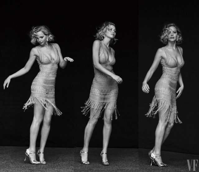 Vanity Fair Holiday 2016 - Jennifer Lawrence by Peter Lindbergh in silver dress