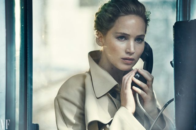 Vanity Fair Holiday 2016 - Jennifer Lawrence by Peter Lindbergh in trenchcoat