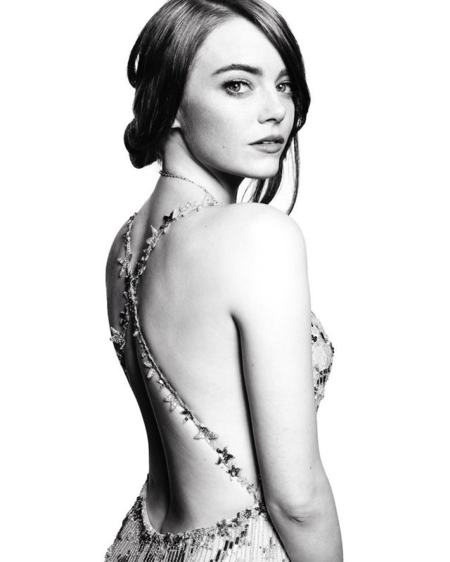 Black and white photos of stars at the Golden Globes by Mert and Marcus - Emma Stone
