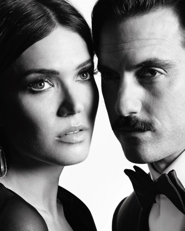Black and white photos of stars at the Golden Globes by Mert and Marcus - Mandy Moore and Milo Ventimiglia