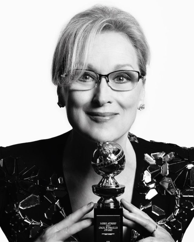Black and white photos of stars at the Golden Globes by Mert and Marcus - Meryl Streep