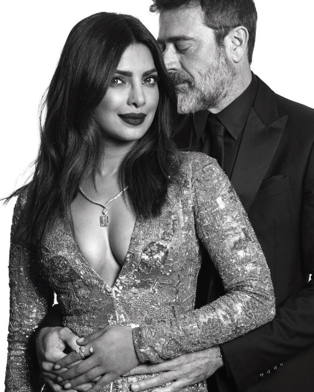 Black and white photos of stars at the Golden Globes by Mert and Marcus - Priyanka Chopra and Jeffrey Dean Morgan