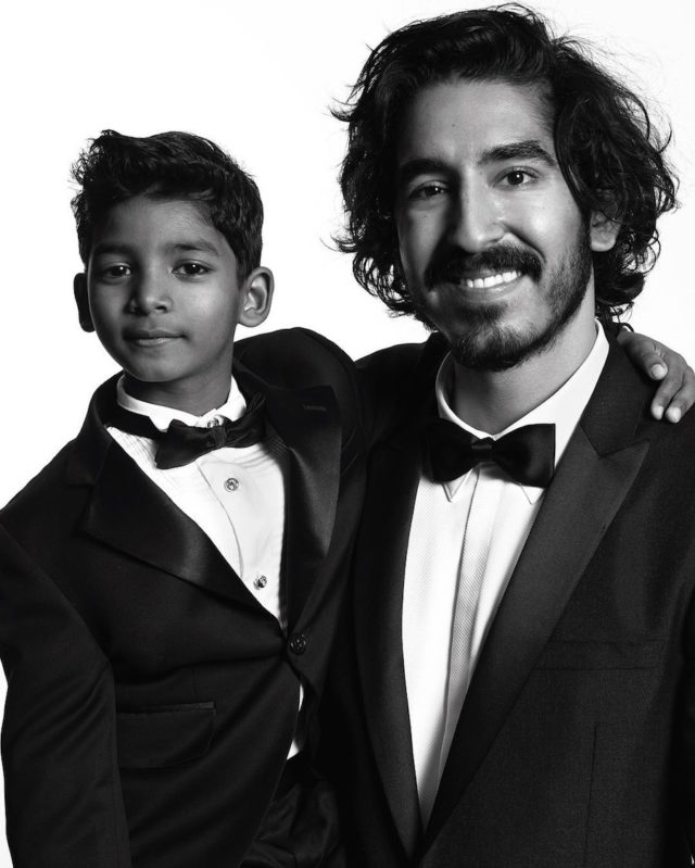 Black and white photos of stars at the Golden Globes by Mert and Marcus - Sunny Pawar and Dev Patel