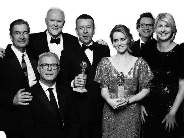 Black and white photos of stars at the Golden Globes by Mert and Marcus - The Crown cast
