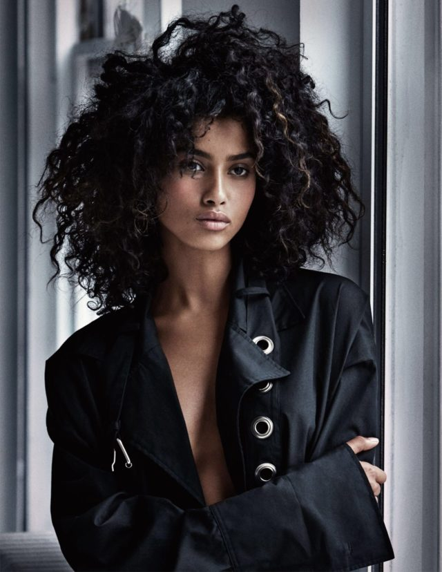 Girls by Patrick Demarchelier for UK VOGUE February 2017 Imaan Haman in black jacket