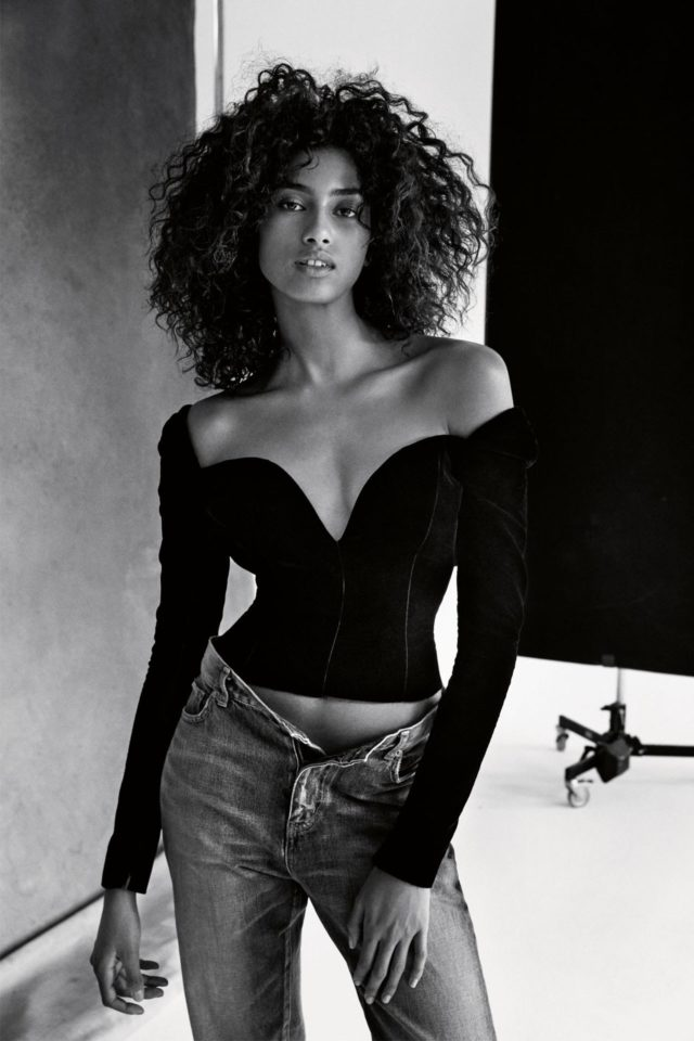 Girls by Patrick Demarchelier for UK VOGUE February 2017 Imaan Hammam in black top