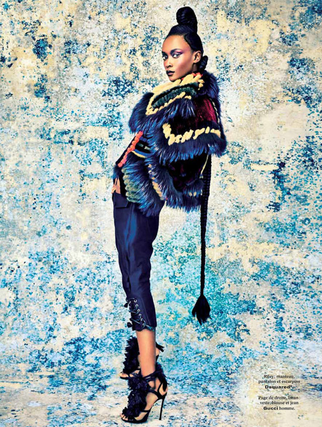 L'officiel Paris September 2016 Black Beauty Riley against blue wall