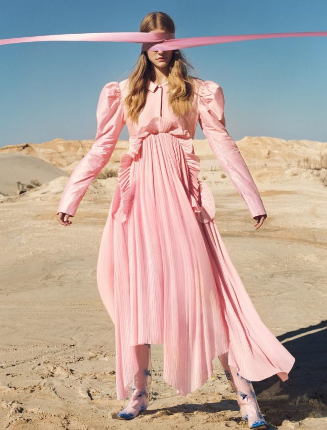 Roos Abels by Txema Yeste for Numero December 2016 in pink gown