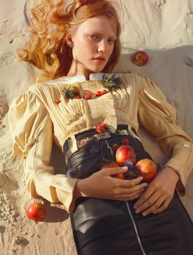 Roos Abels by Txema Yeste for Numero December 2016 with apples